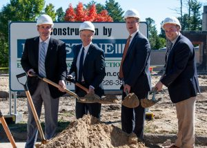 Participants from Catholic Charities New Hampshire at the groundbreaking of Warde Health Center's new independent living facility and assisted living wing in Windham, NH on October 5th, 2018. From left: David Hildenbrand, CFO; Alain J. Bernard, Vice President of Healthcare Services; Thomas E. Blonski, President and CEO; and Bret Pomeroy, Warde Administrator.