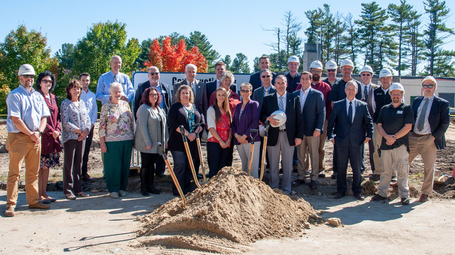 Participants from Catholic Charities New Hampshire, Diocese of Manchester, Warde Health Center, Lavallee Brensinger Architects, and Milestone Engineering and Construction, Inc. gather for the groundbreaking of Warde's new independent living facility and assisted living wing in Windham, NH on October 5th, 2018.