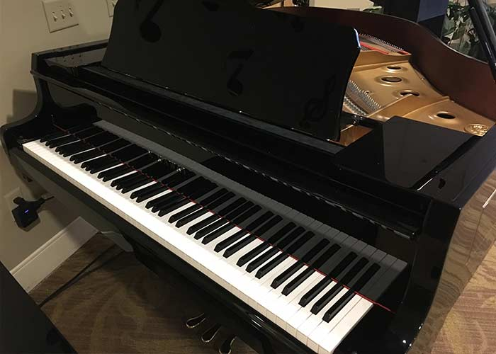 Photo of the Kawai grand piano at the Mt. Carmel Rehabilitation an Nursing Center