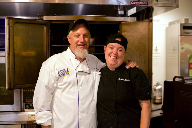 Moriah Webster with NH Hood Bank Recipe for Success Chef Instructor Jayson McCarter