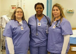 Three CCNH nurses that were awarded scholarships to Harmony Health Care Institute in Merrimack.