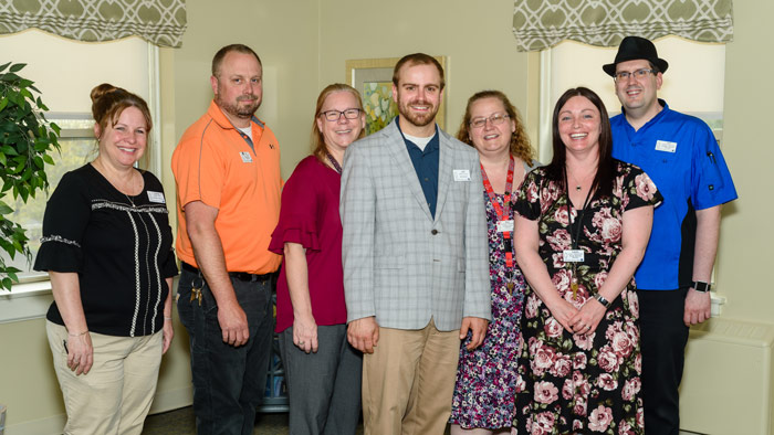 Administrator Jeff Lacroix with members of the St. Vincent Rehabilitaion and Nursing Center team.